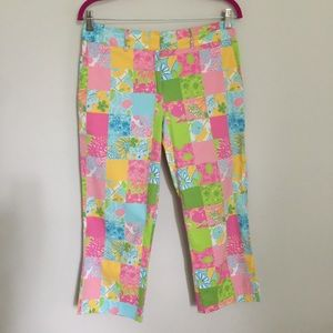 Lilly Pulitzer White Tag Patchwork Capris